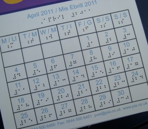 multimedia braille/print calendar for April
