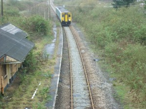 train reaching the far end of Fishguard & Goodwick Station