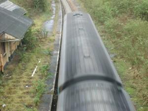 train running non-stop through Fishguard & Goodwick Station