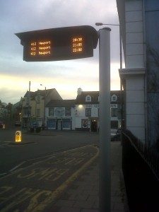 Fishguard Square, evening, bus sign trials 2