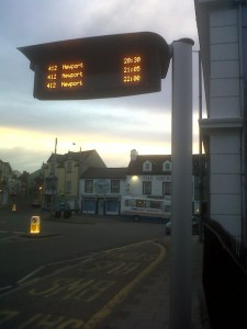 Fishguard Square, evening, bus sign trials 3