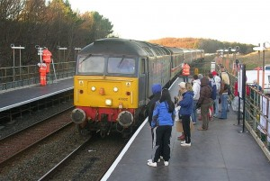 train arriving at newly-opened Workington North station