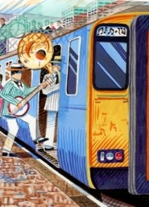 drawing of jazz players boarding train