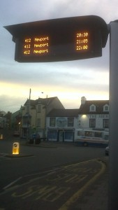 bus display on Fishguard Square