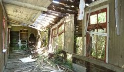 interior of a derelict Goodwick Station building