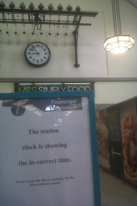 station clock showing incorrect time