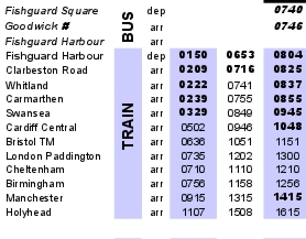 thumbnail of new Fishguard Trains timetable
