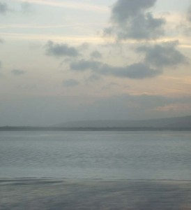 the sea at Ferryside from the train