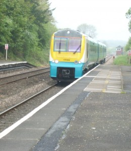 Train arrives at Clarbeston Road Station
