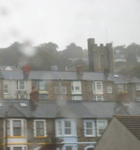 Goodwick with St Peter's Church from the train