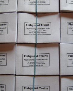 Fishguard timetables boxed for distribution