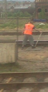 railway worker changing the points
