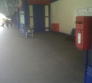 letterbox on Fishguard Harbour Station platform