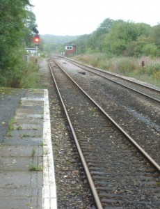 red signal showing at Clarbeston Road station