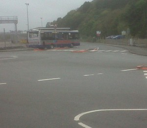 bus leaving station