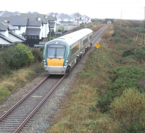 Irish Rail train approaches Rosslare Strand