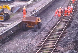 slewing the railtrack towards the platform at Goodwick