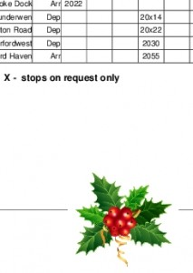 sprig of holly on an Arriva timetable