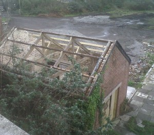 brick shed at Goodwick Station minus its roof