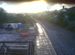 sunset over Goodwick station