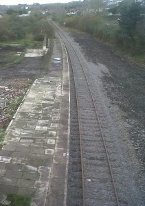 rail track relaid close to platform at Goodwick