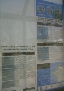 timetables in the new bus stop at Fishguard and Goodwick Station