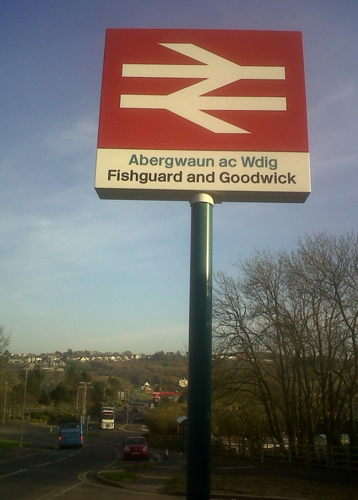 newly installed station sign at Fishguard and Goodwick