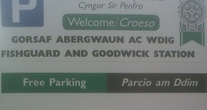 Free Parking sign at Fishguard and Goodwick Station