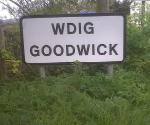 Road sign at entrance to Goodwick