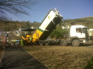 tarmac unloaded for surfacing car park at station