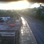 sunset after rain at station site