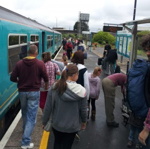 passengers leaving train at Carmarthen