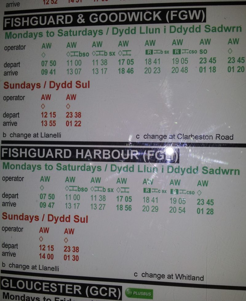 Fishguard train times displayed at Swansea station