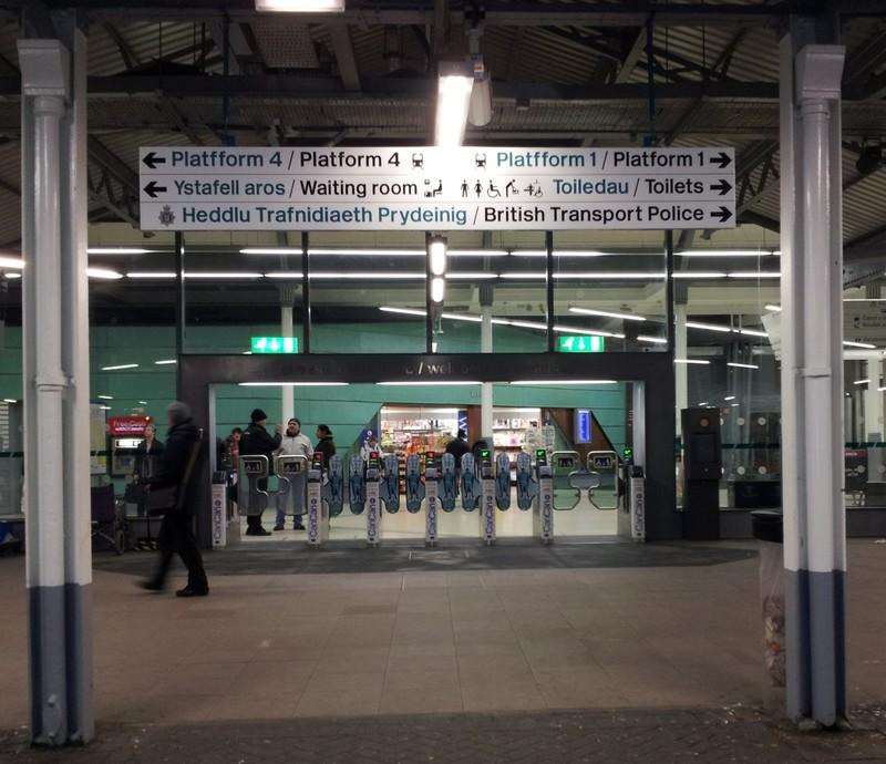 passenger barriers at Swansea High Street Station