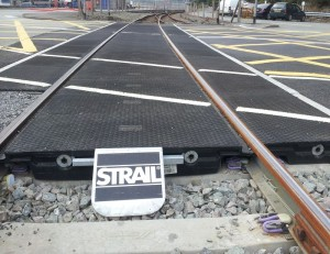 close up of Strail level crossing panels
