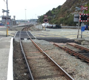one track removed from Fishguard Harbour level crossing