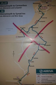 Map of Arriva bus routes to be cut